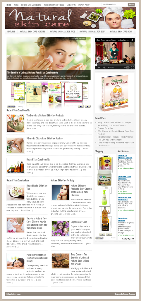 Natural Skin Care Home Page