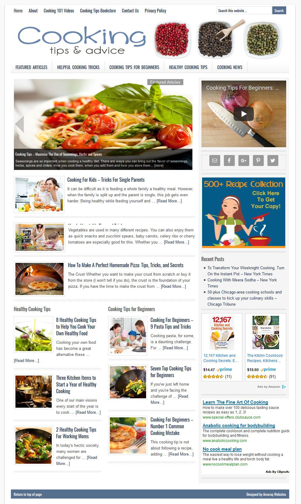 Cooking Tips Website   Amaraq Websites