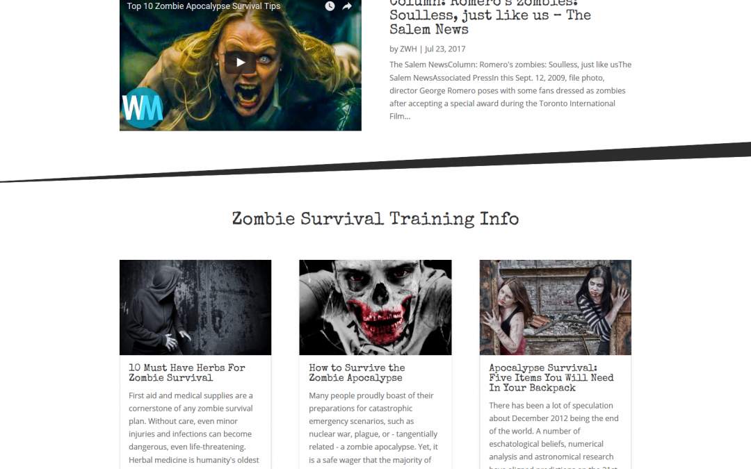 ZWorldHQ.com- Zombie Survival e-Commerce Website